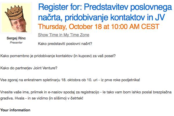 Slika registracije spletinarja za podjetnike